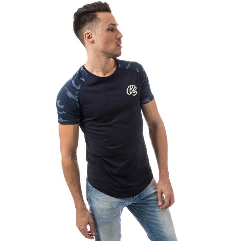 Tričko Crosshatch Black Label Mens Hill Grove Camo T-Shirt Navy