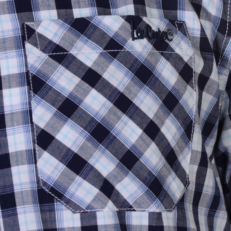 Lee Cooper Short Sleeve Check Shirt Mens Navy/White