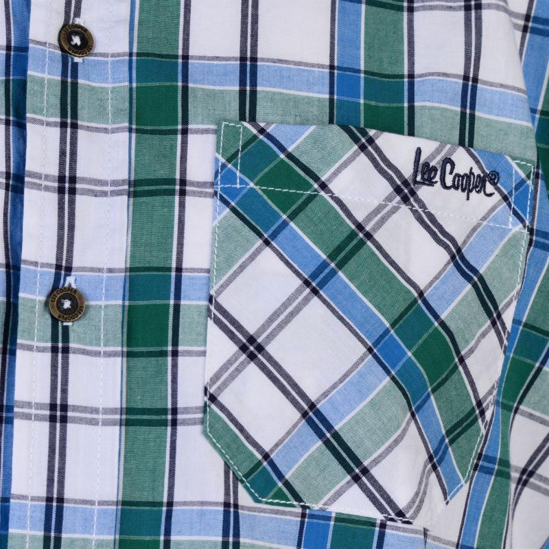 Lee Cooper Short Sleeve Check Shirt Mens Whte/Green/Blue