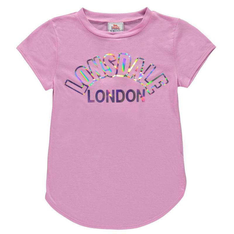 Lonsdale Large Logo Crew T Shirt Girls Orchid