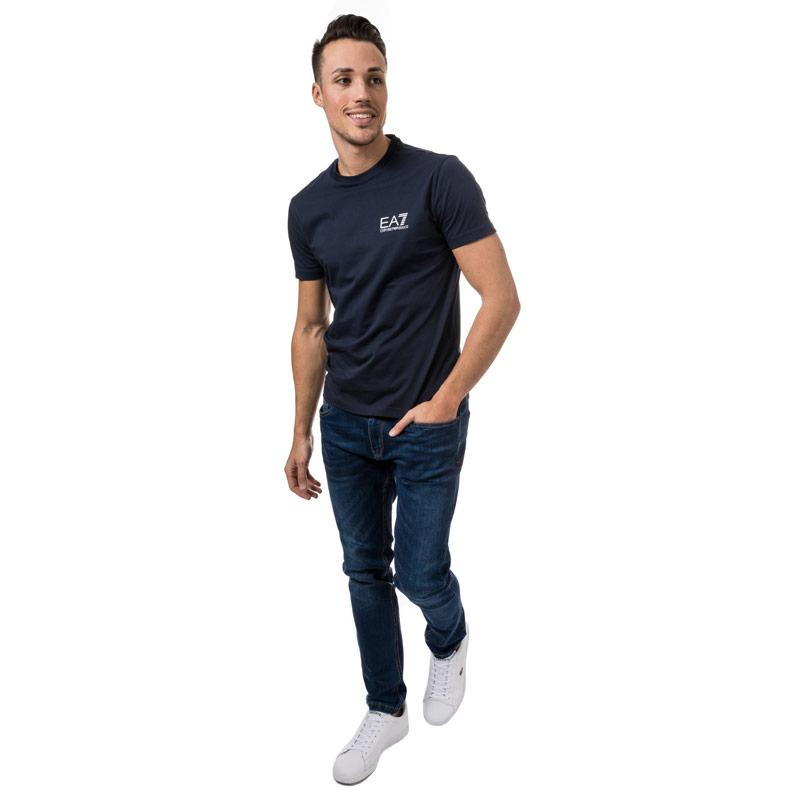 Tričko Emporio Armani EA7 Mens Train core ID Crew Neck T-Shirt Navy Velikost - L