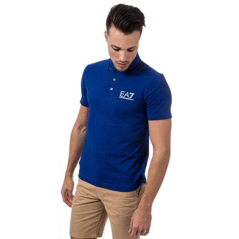 Emporio Armani EA7 Mens Train Core ID Polo Shirt Blue