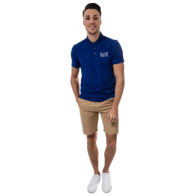 Emporio Armani EA7 Mens Train Core ID Polo Shirt Blue Velikost - XL