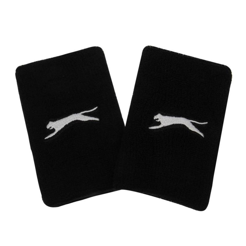 Slazenger 2 Pack Double Wristbands Black