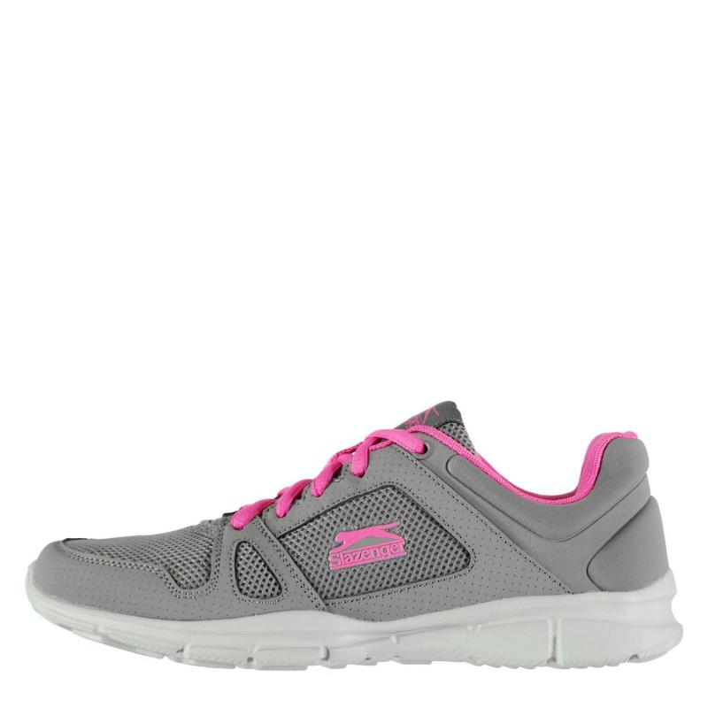 Slazenger Force Mesh Running Shoes Ladies Charcoal/Pink