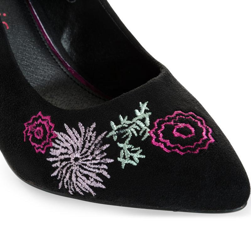 Dolcis Womens Tanya Embroidered Shoes Black
