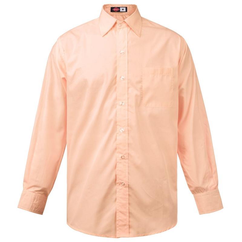 Lee Cooper Long Sleeve Pocket Shirt Mens Peach