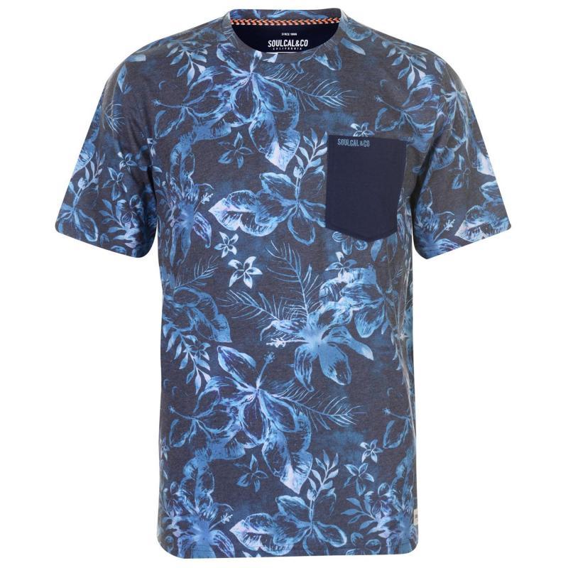 Tričko SoulCal AOP Pocket T Shirt Mens Navy Floral