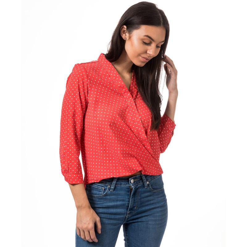 Vero Moda Womens Nicky Wrapover Blouse Red