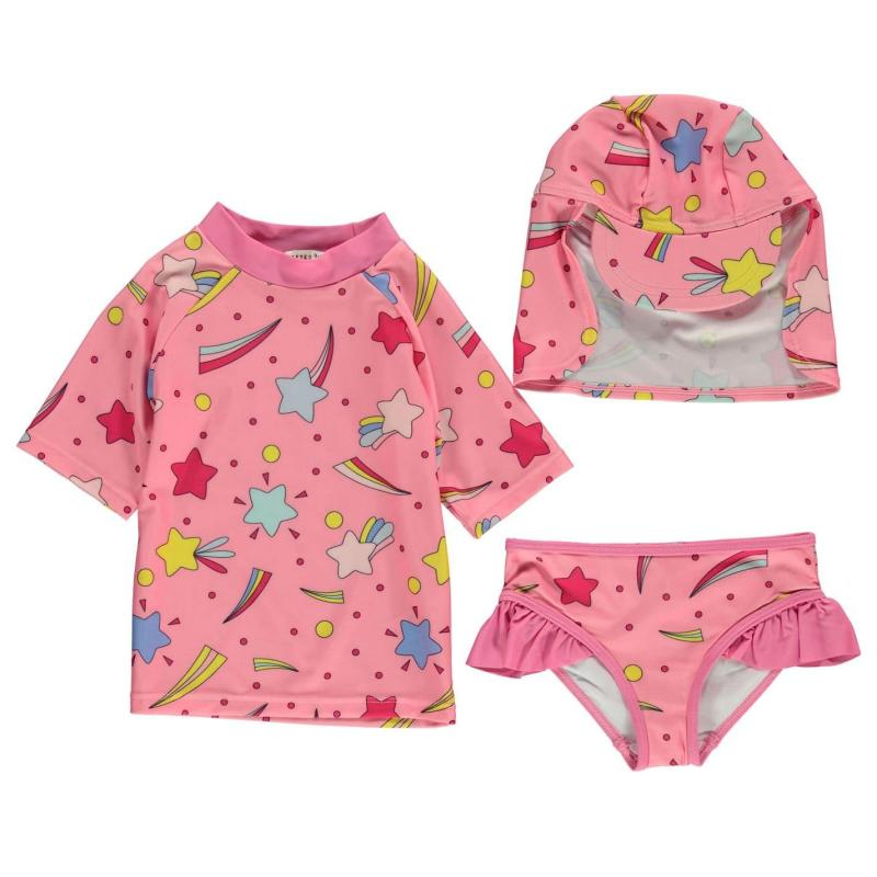Crafted Mini 3 Piece Swimsuit Baby Girls Pink Stars