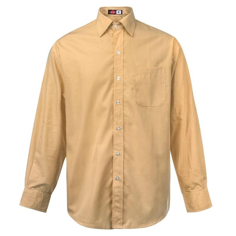 Lee Cooper Long Sleeve Pocket Shirt Mens Sand
