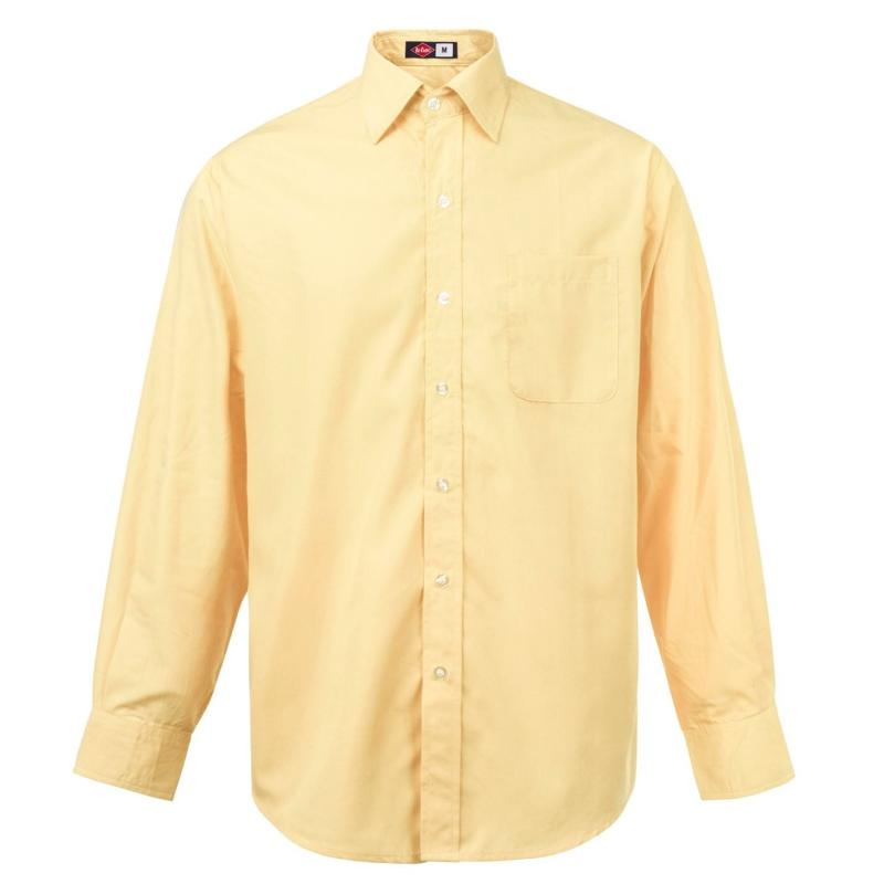 Lee Cooper Long Sleeve Pocket Shirt Mens Almond