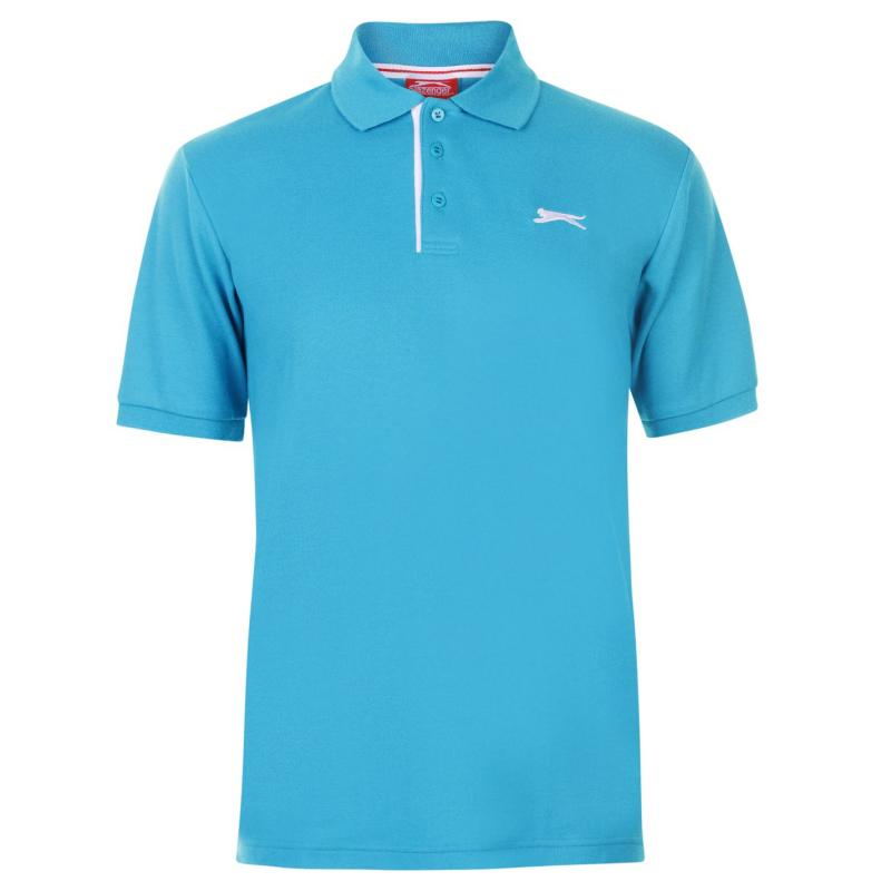 Slazenger Plain Polo Shirt Mens Bright Blue/Wht