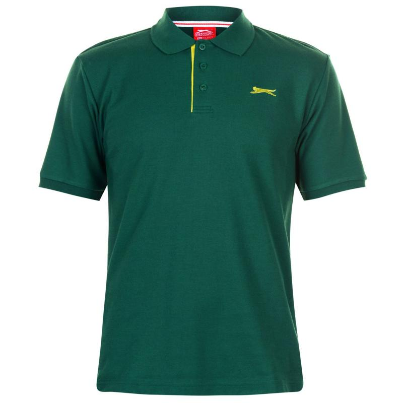 Slazenger Plain Polo Shirt Mens Dark Green