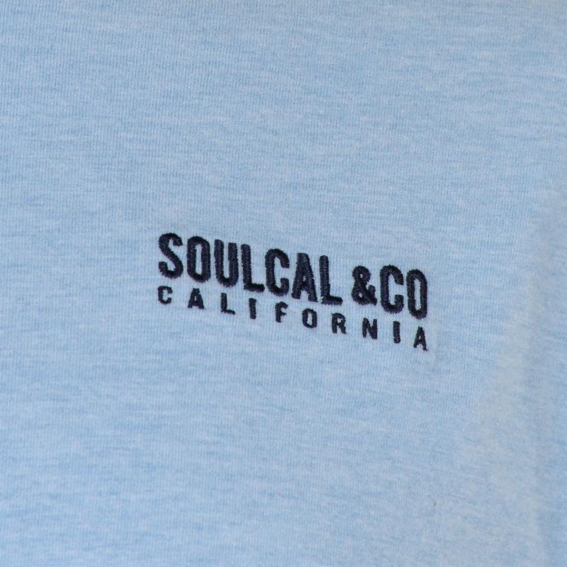Tričko SoulCal Small Logo V Neck T Shirt Mens Sky Marl