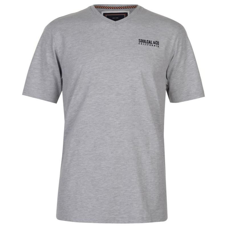 Tričko SoulCal Small Logo V Neck T Shirt Mens Grey Marl
