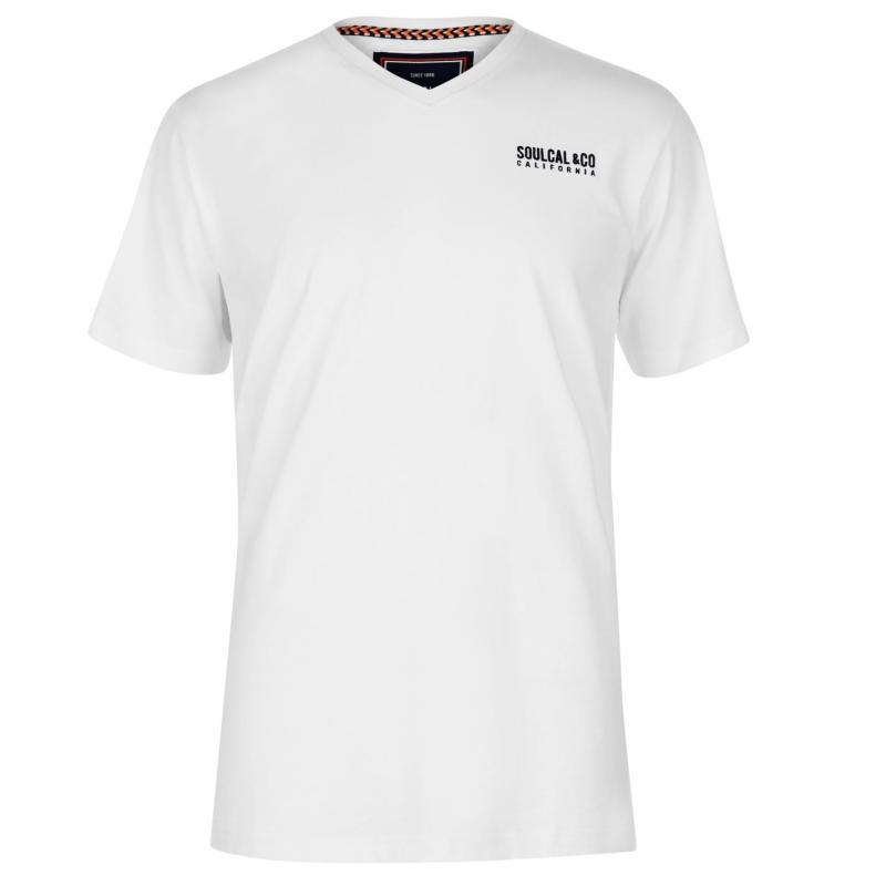 Tričko SoulCal Small Logo V Neck T Shirt Mens Grey Marl