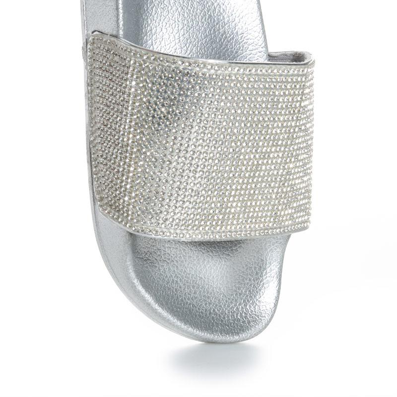 Boty Truffle Collection Womens Diamante Slide Sandals Silver