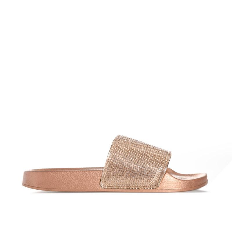 Boty Truffle Collection Womens Diamante Slide Sandals Champagne