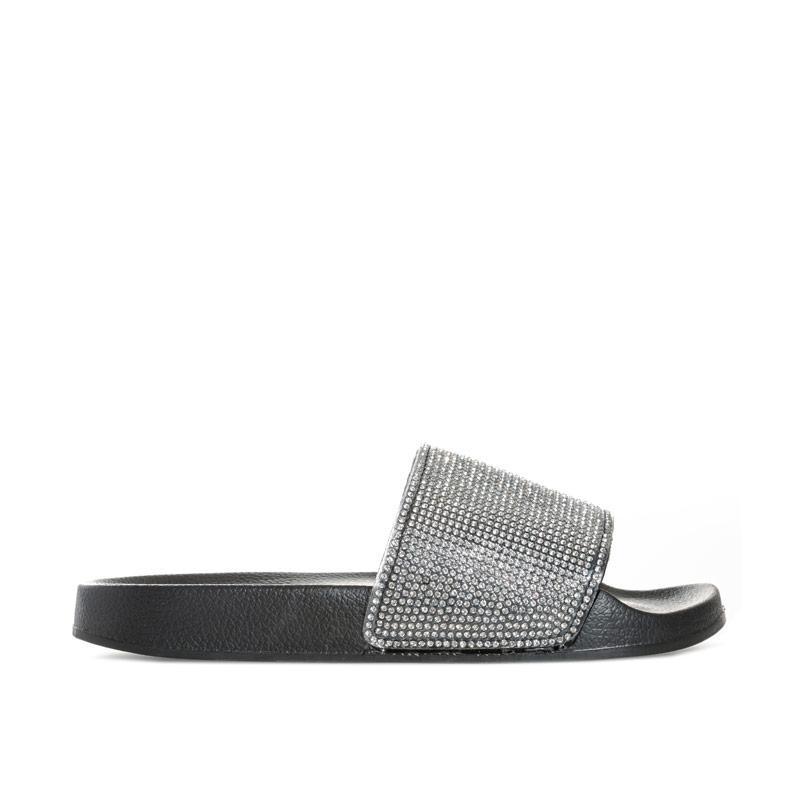 Boty Truffle Collection Womens Diamante Slide Sandals Black