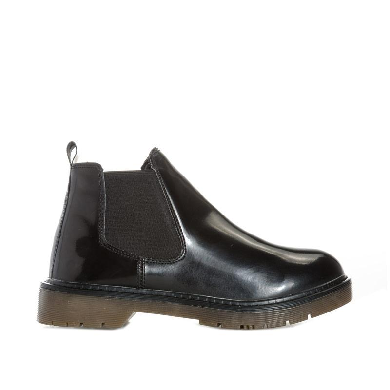 Dolcis Womens Robby Patent Chelsea Boots Black