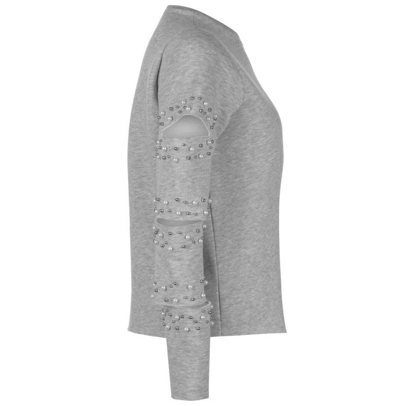 Mikina Noisy May Belle Pearl Sweatshirt Grey Melange
