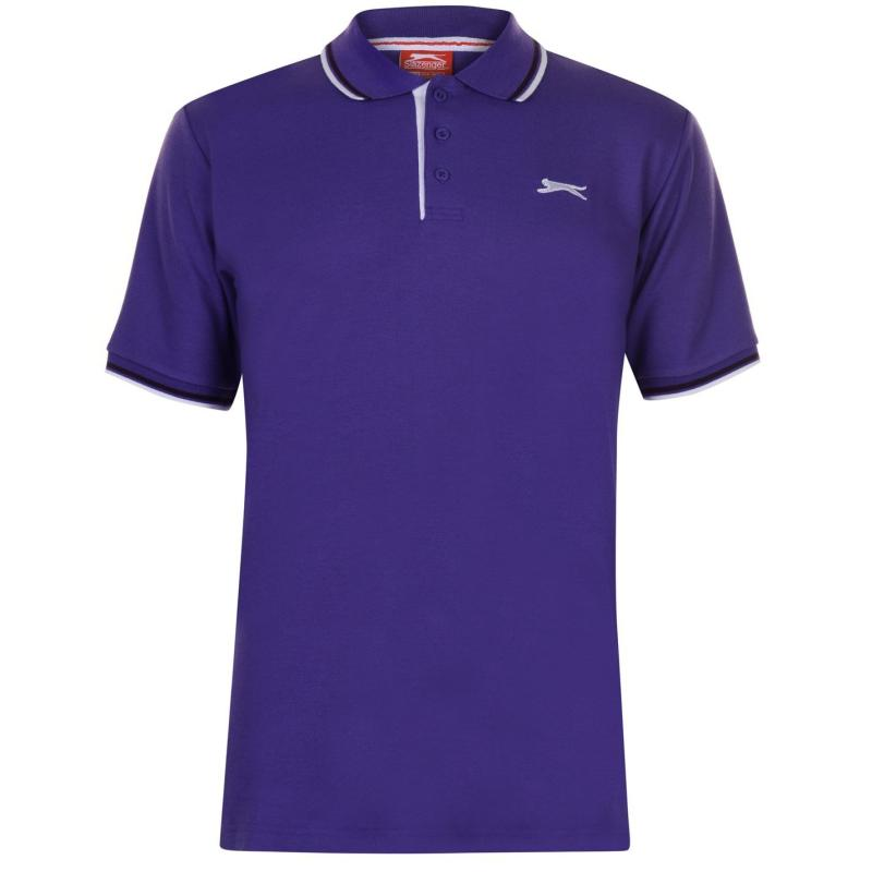 Slazenger Tipped Polo Shirt Mens Purple