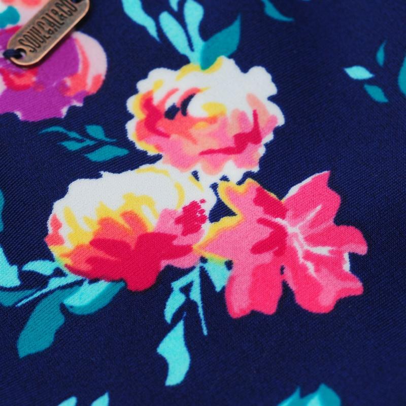 Plavky SoulCal Ruched Bikini Briefs Ladies Aqua Floral