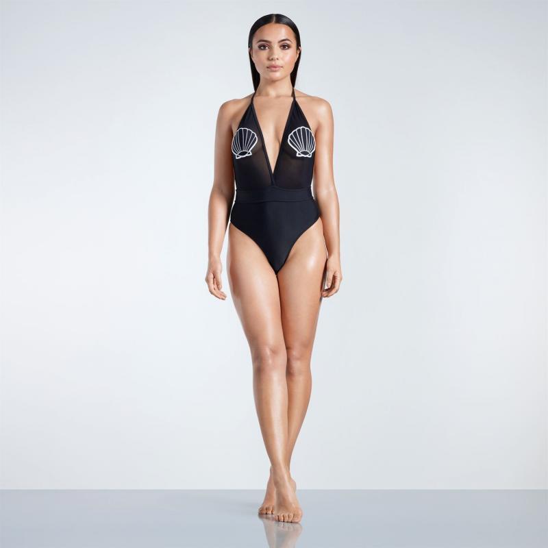 Plavky Golddigga Shell Badge Swimsuit Ladies Black Shell