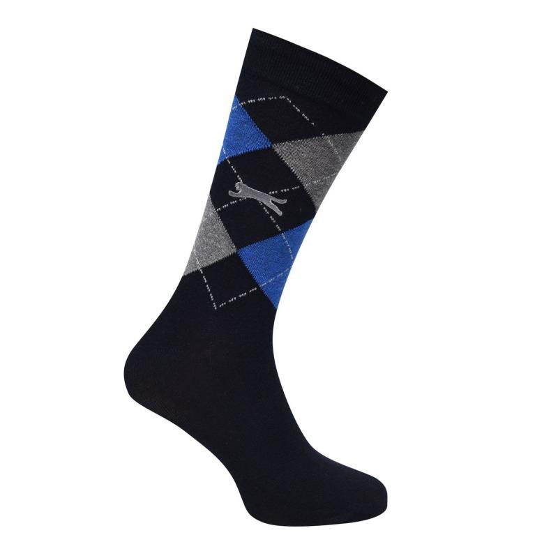 Ponožky Slazenger Argyle Golf Socks 3 Pack Mens Navy/Grey
