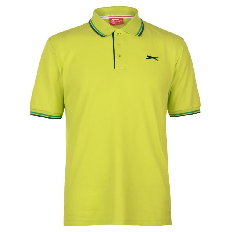 Slazenger Tipped Polo Shirt Mens Lime Green