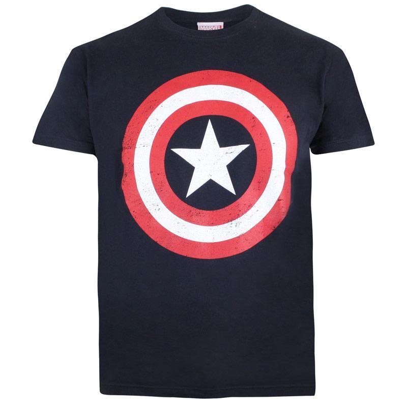 Tričko Marvel Junior Boys Captain America Shield T-Shirt Navy
