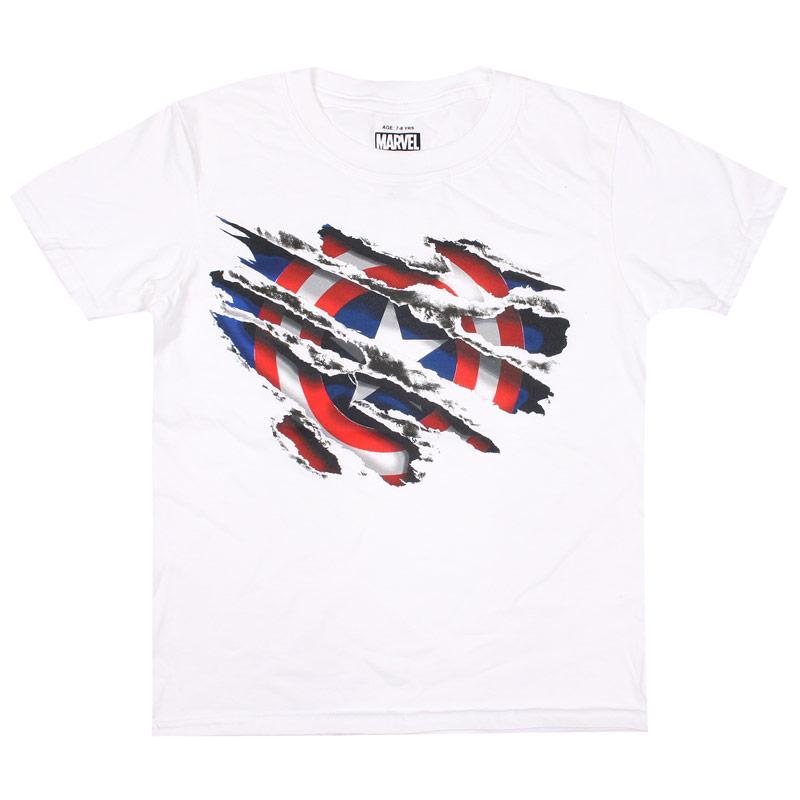 Tričko Marvel Junior Boys Captain America Torn T-Shirt White