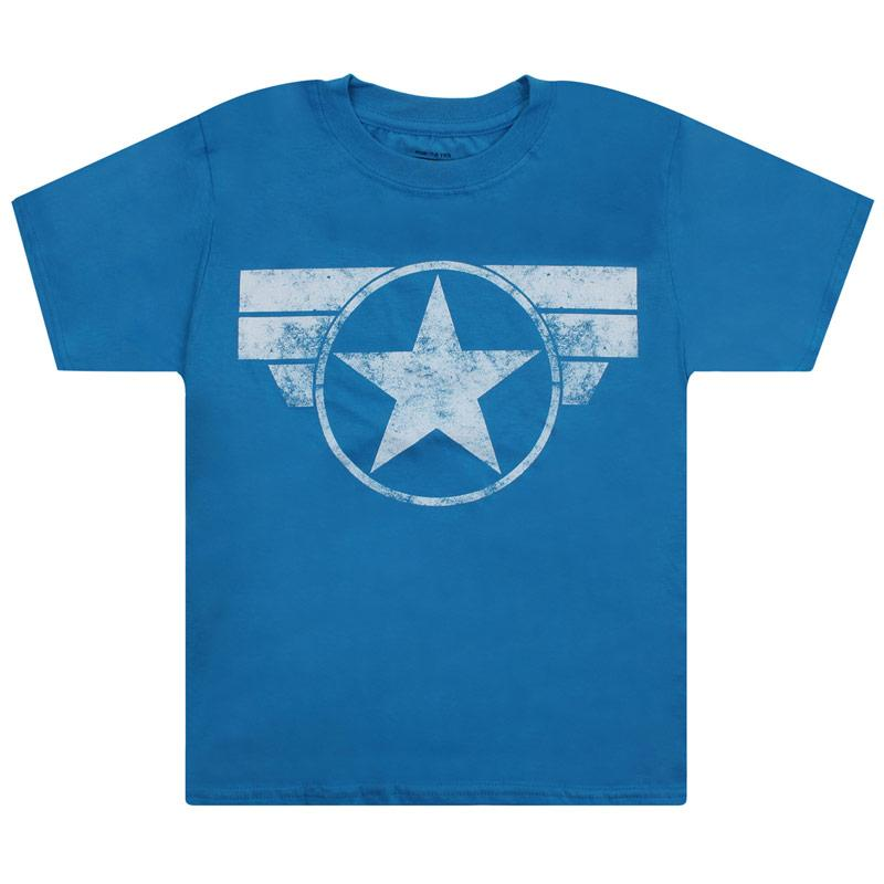 Tričko Junior Boys Marvel Cap Logo T-Shirt Blue