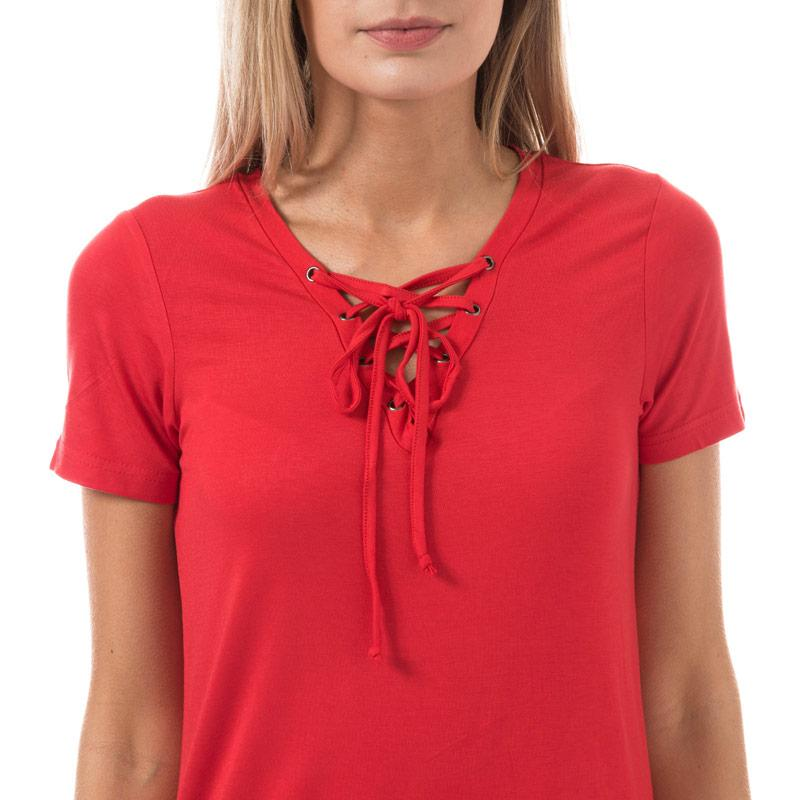 Brave Soul Womens Eyelet Tie Neck T-Shirt Red