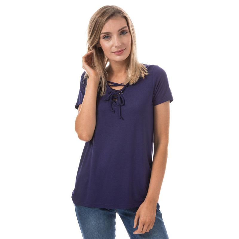 Brave Soul Womens Eyelet Tie Neck T-Shirt Navy