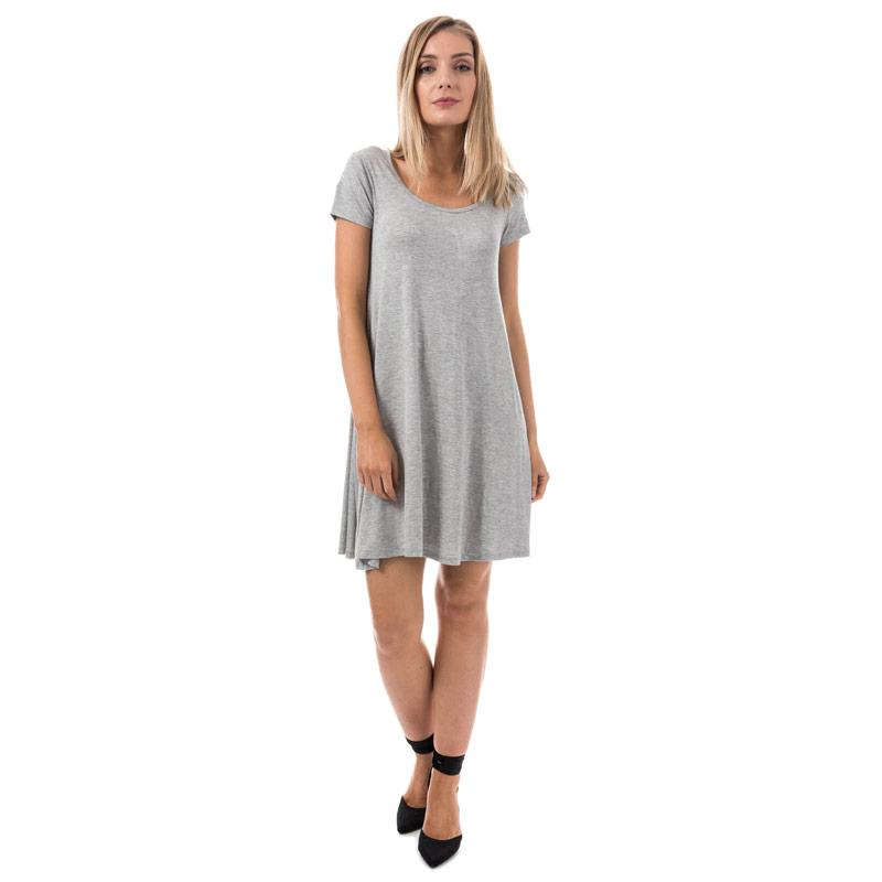 Šaty Brave Soul Womens Swing Dress With Keyhole Back Grey Marl