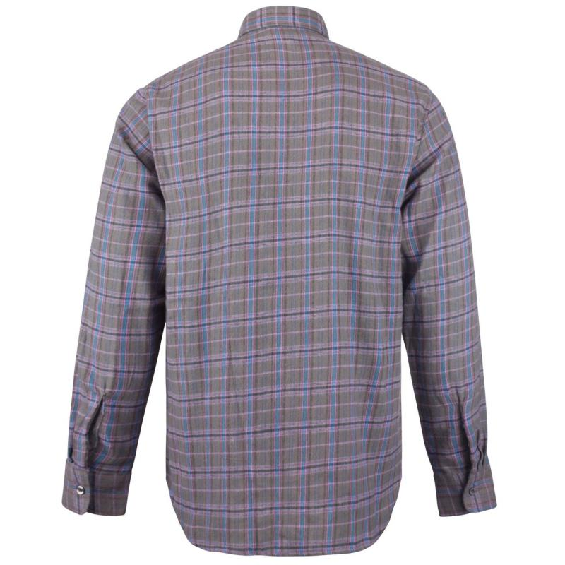 Lee Cooper Slim Fit Check Shirt Mens Charcoal/Blue