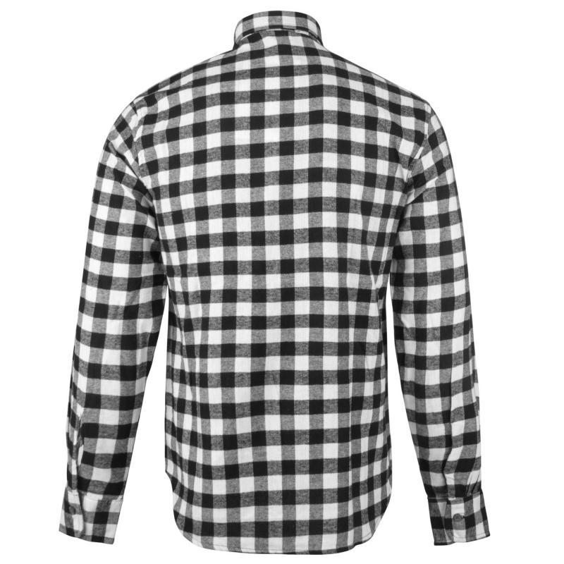 Lee Cooper Slim Fit Check Shirt Mens Black/White