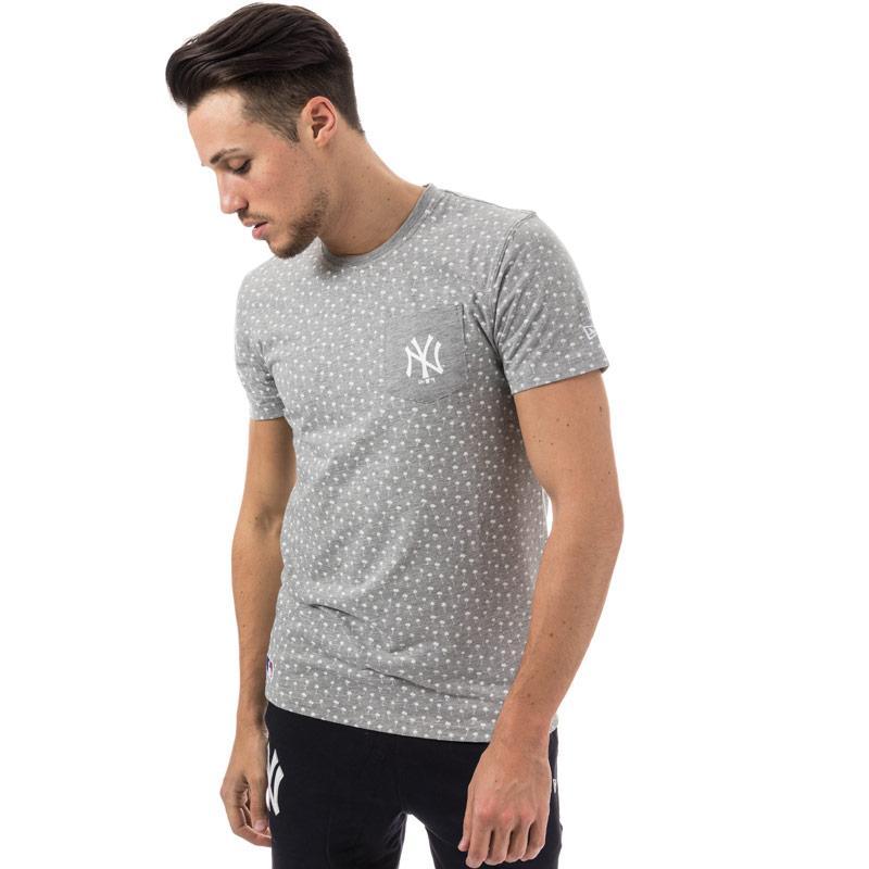 Tričko New Era Mens New York Yankees Palm Tree Print T-Shirt Grey Marl