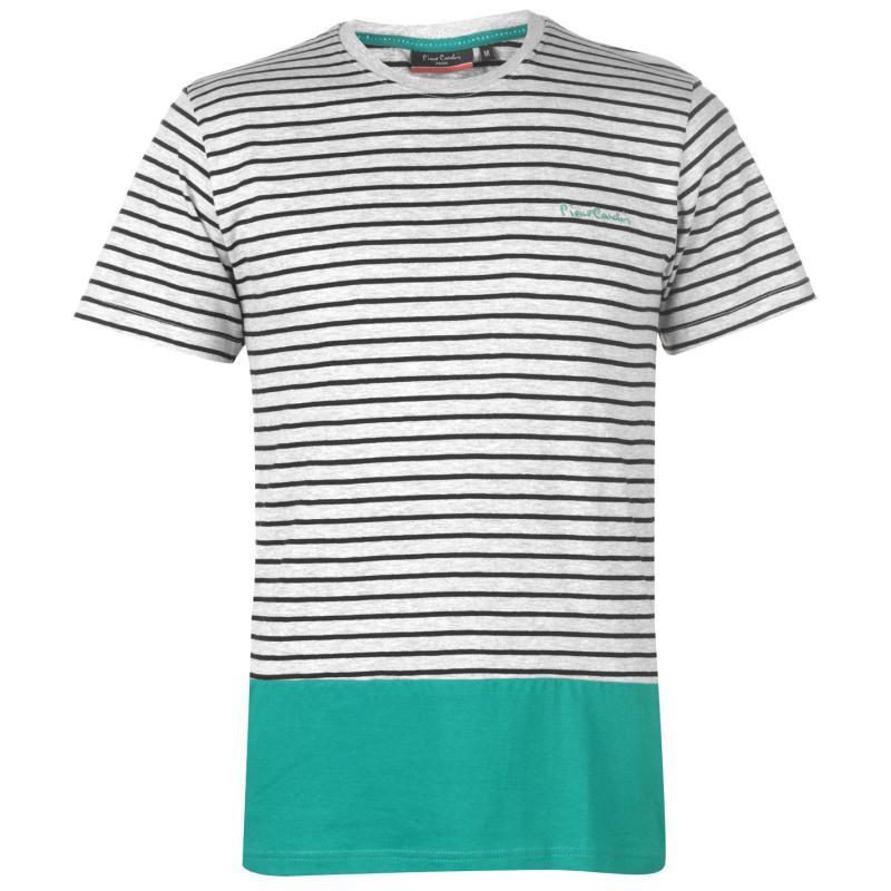 Tričko Pierre Cardin Stripe Block T Shirt Mens Gry M/Blk/Grn