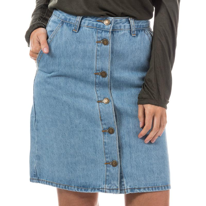 Sukně Brave Soul Womens Button Through Denim Skirt Denim
