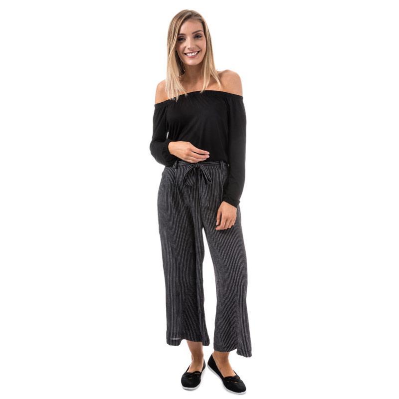 Kalhoty Brave Soul Womens Cropped Stripe Trousers Black