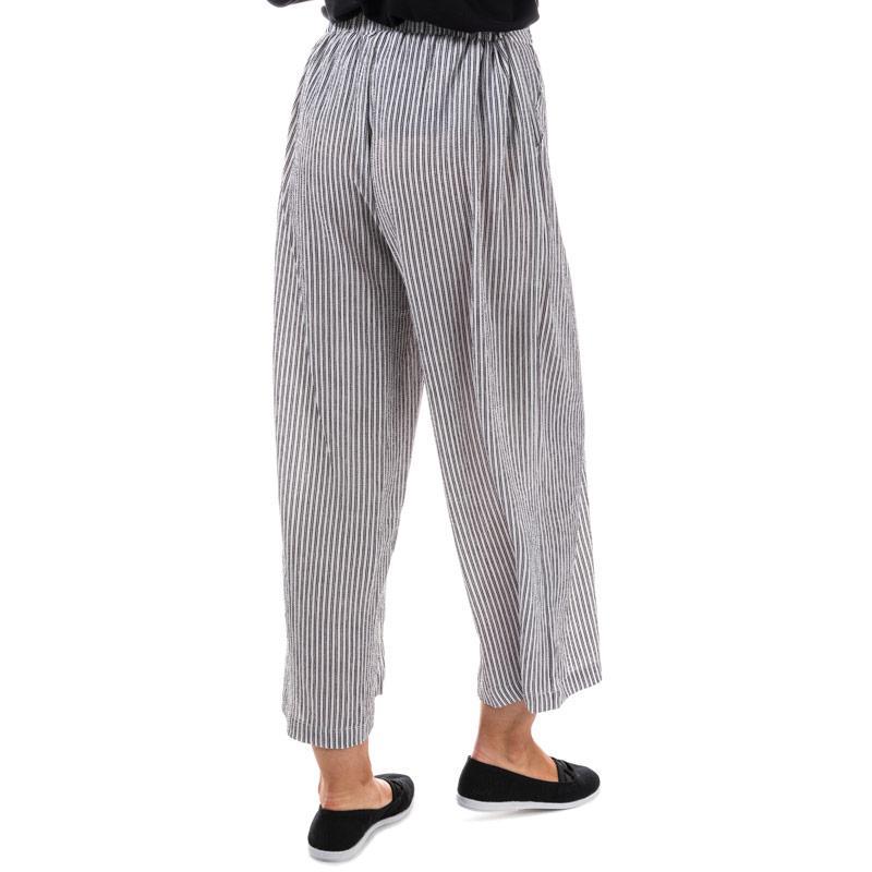 Kalhoty Brave Soul Womens Cropped Stripe Trousers Ecru