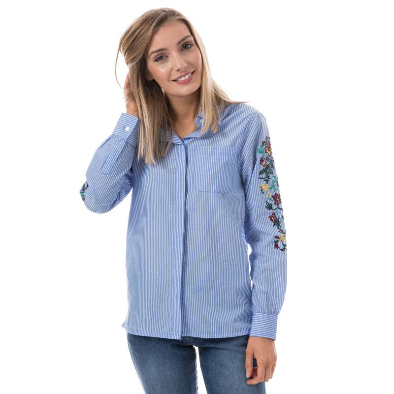 Brave Soul Womens Stripe Shirt With Embroidered Sleeves Blue-White