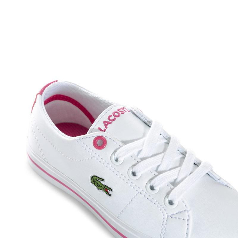 Lacoste Junior Girls Riberac Trainers White pink