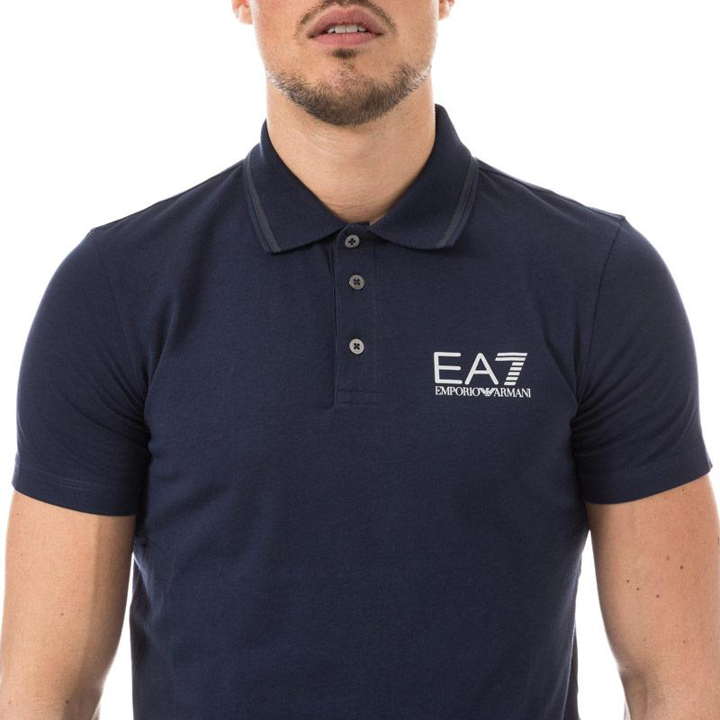 Emporio Armani EA7 Mens Train Core ID Polo Shirt Navy Velikost - M