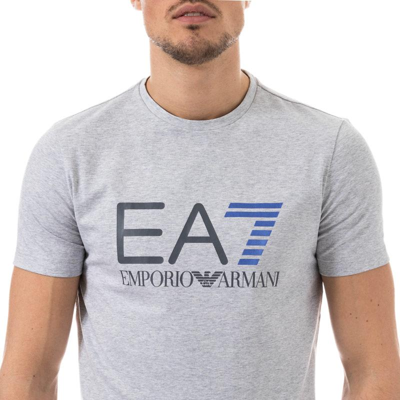 Tričko Emporio Armani EA7 Mens Train Logo Series Crew Neck T-Shirt Light Grey
