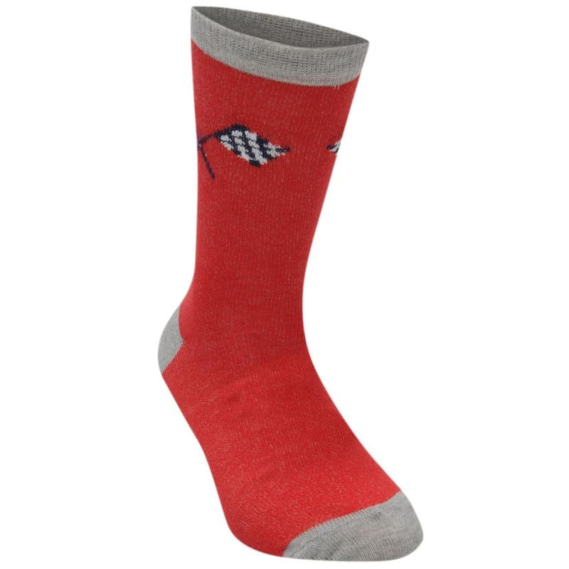 Ponožky Crafted Essentials 3 Pack Car Socks Child Boys Red Grey Cars