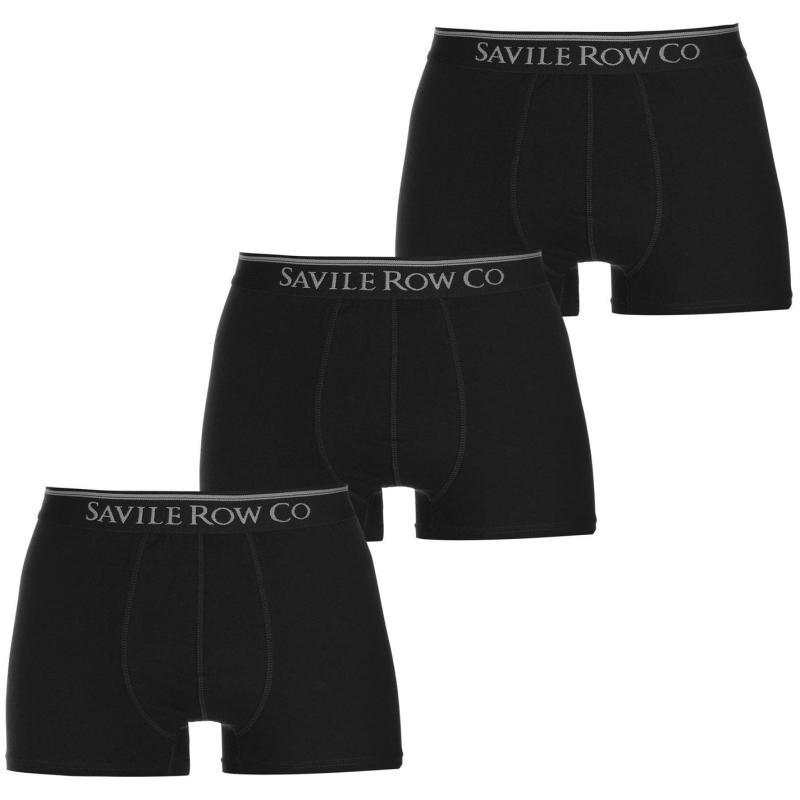 Spodní prádlo Saville Row 3 Pack Trunks Mens Black